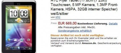 HTC Flyer à 669€ sur Amazon.de