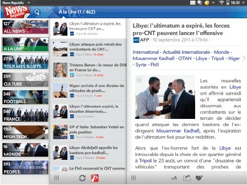 News Republic sur TouchPad
