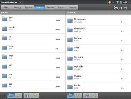 Gemini File Manager (2,99 €) sur TouchPad