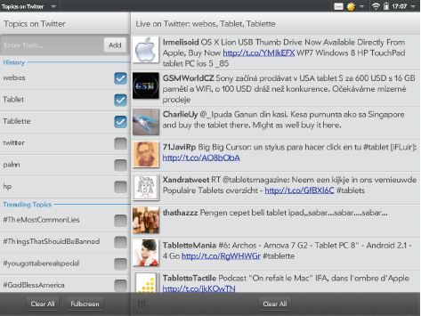 Topics on Twitter (gratuit) sur TouchPad