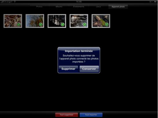 Interface d'import de photo sur iPad