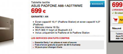 Asus padfone chez Darty
