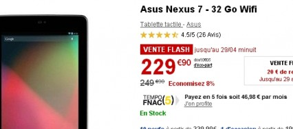 Vente Flash : la Nexus 7 Wifi 32Go à 229€ (-20€)