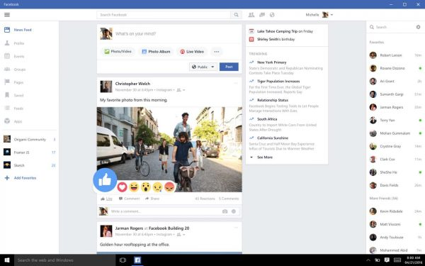 Application Facebook pour Windows 10