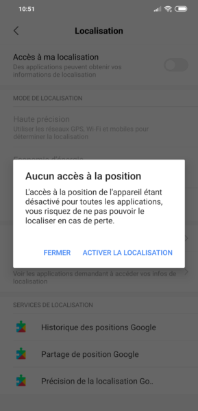 Localisation paramètres Android
