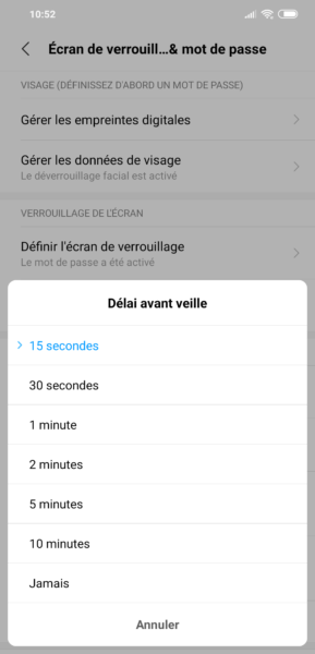 Mise en veille Android