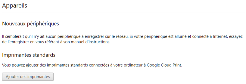 Ajout imprimante Google Cloud Print