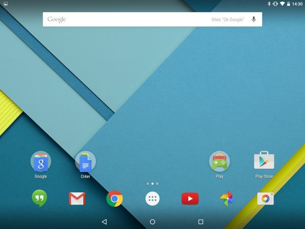 Interface d'Android Lollipop
