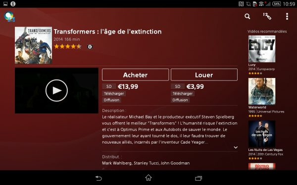 Video unlimited sur la Sony