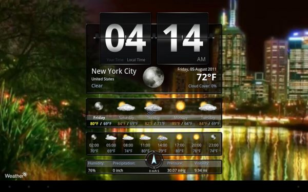 screenshot Application Weather+