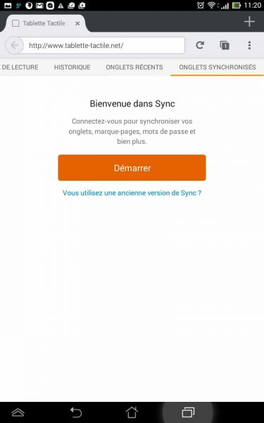 La synchronisation Firefox sur Android