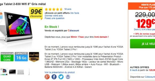 Cdiscount Yoga tablet 2 en promotion
