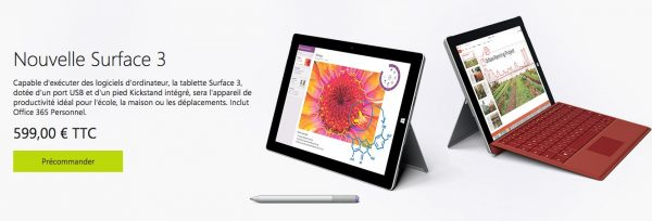 Tablette Microsoft Surface 3
