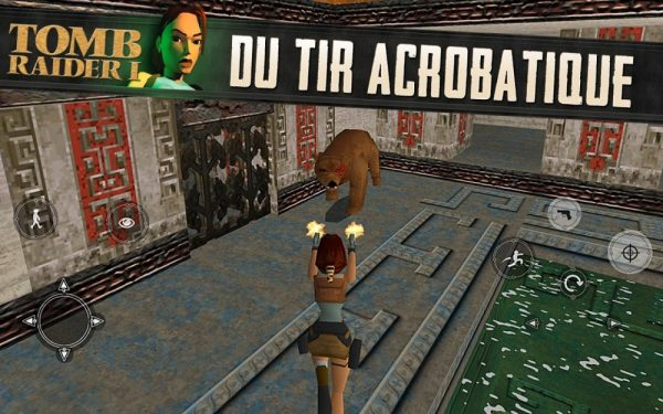 Tomb Raider 1 pour Android, du tir acrobatique