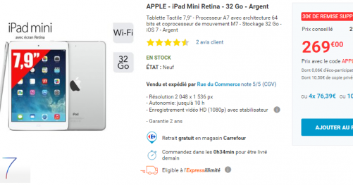Bon plan iPad Mini Retina