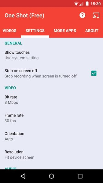 One Shot Screen Recorder, application de captuure d'écran vidéo pour Android