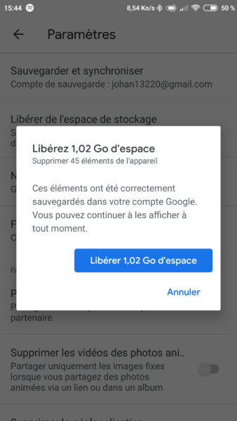 Effacement sur Google Photos