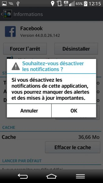 désactiver les notification facebook via android