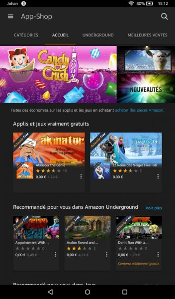 app shop de l'Amazon Fire