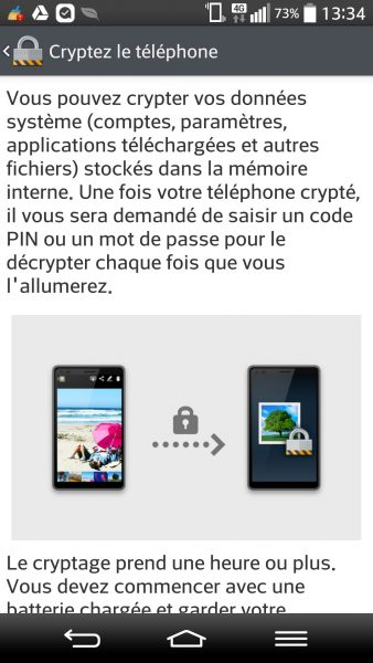 cryptage android sur smartphone LG