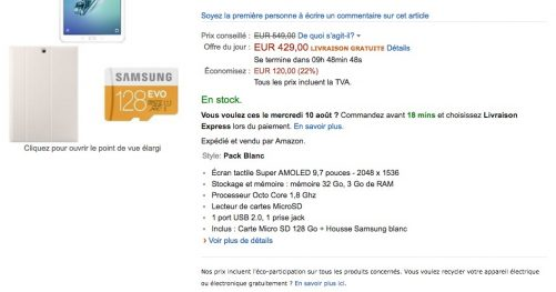 Promotion samsung galaxy Tab S2 sur Amazon
