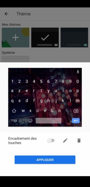 Réglages touches Gboard