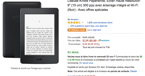 Kindle Paperwhite en promo pour le black friday 2016