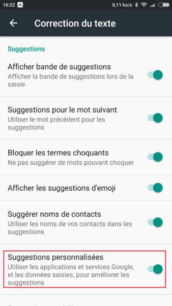 Suggestions personnalisées Android