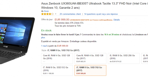 Asus Zenbook hybride en vente flash sur Amazon