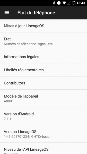 Oneplus One avec la ROM Lineage OS