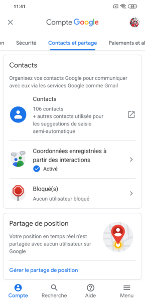 Contacts compte Google