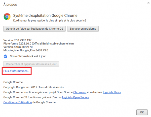 Informations Chrome OS