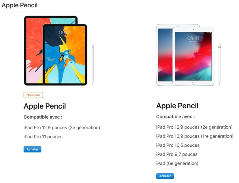 Comparaison Apple Pencil