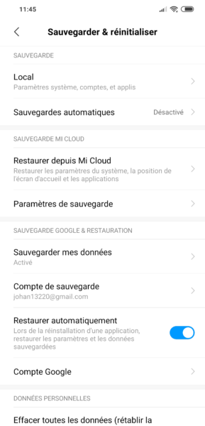 Réinitialisation Android