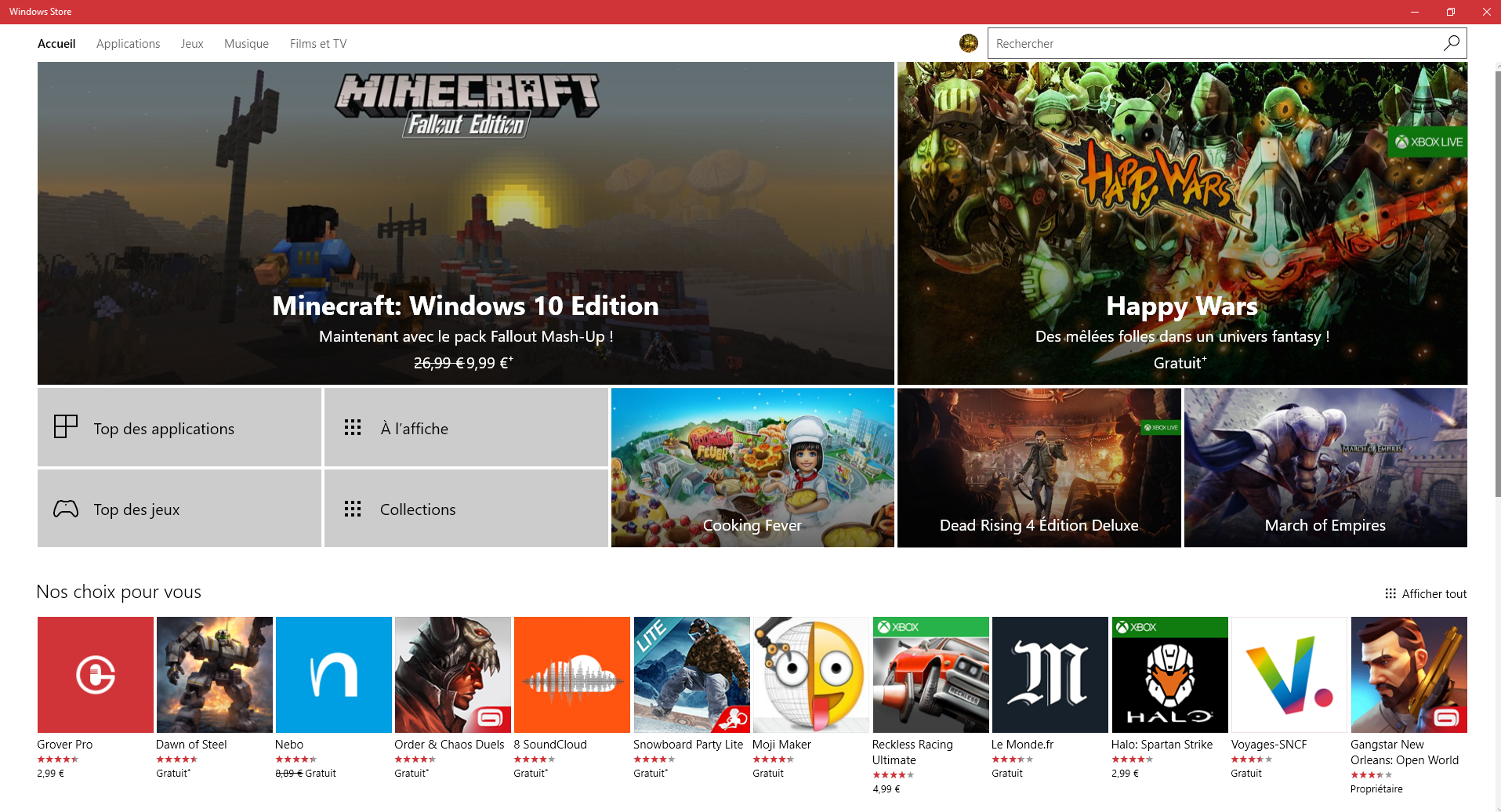 Le Windows Store, seul moyen d'obtenir des applications sous Windows 10S.