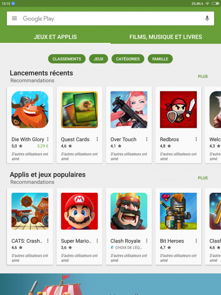 Play Store tablette Xiaomi