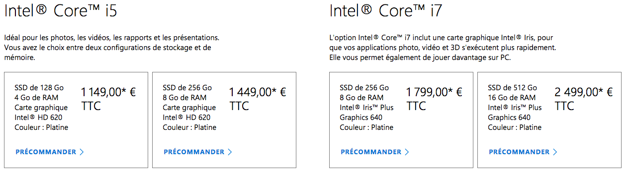Prix surface laptop