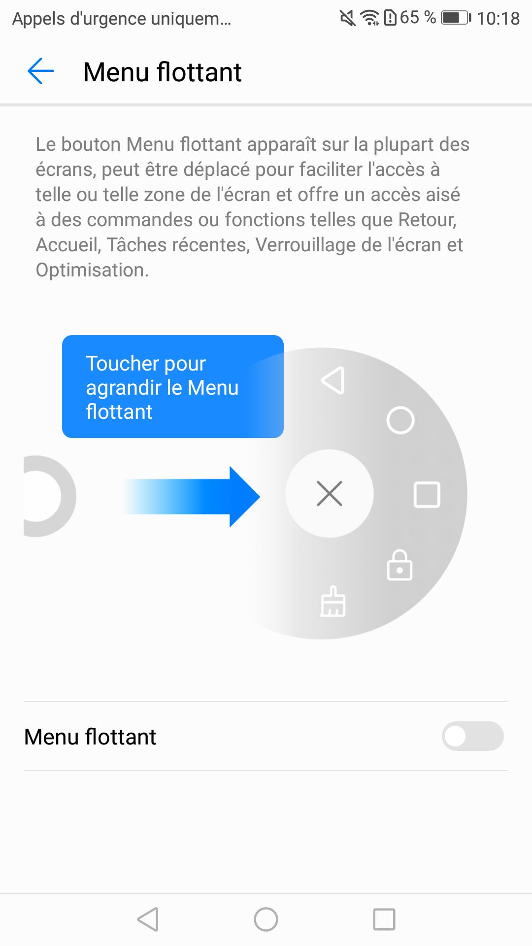 Option menu flottant P10 Lite