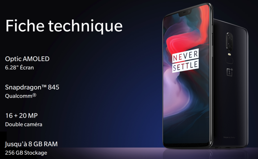 Oneplus 6 spécifications