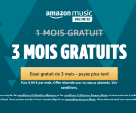 Amazon Music Unlimited gratuit pendant 3 mois (puis 9.99€/mois)