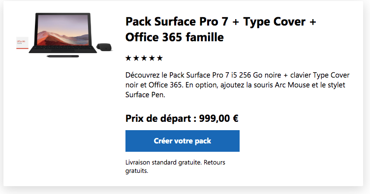 Pack complet Surface pro 7 & clavier