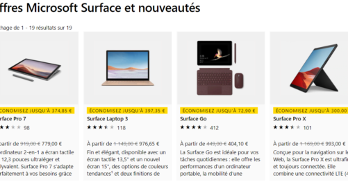 Offres Microsoft Surface